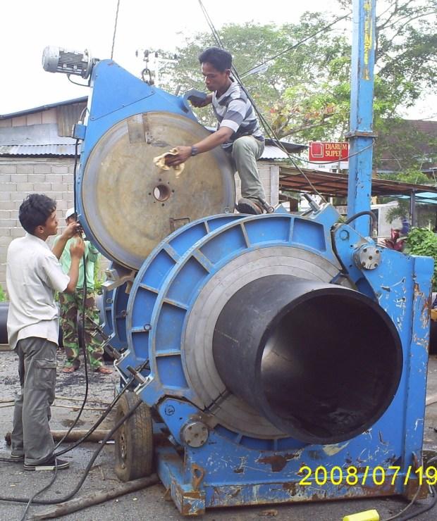 Persiapan Penyambungan pipa HDPE diameter 800mm